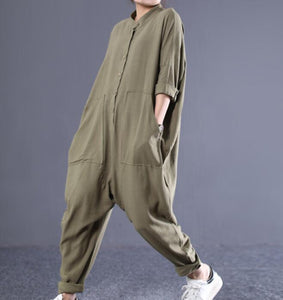 Loose Linen Women Casual Jumpsuits With Pockets PZ97251