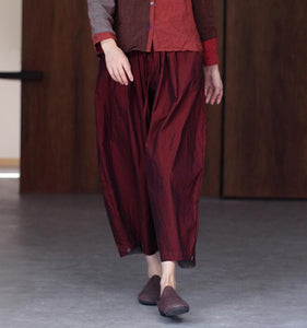 Red Women Casual Cotton Wide Leg Pants SJ981106