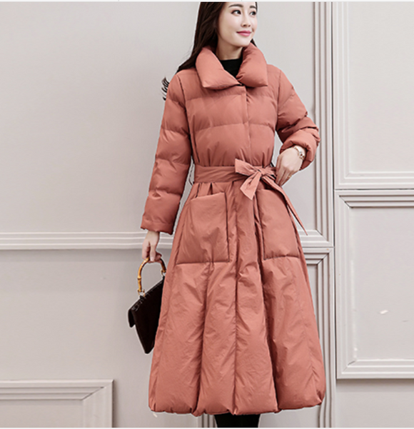 Long  Down Jacket Thick Winter Waist Belt Women Down Coats