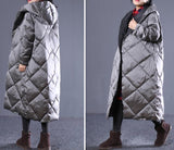 Loose Style Winter Duck Down Jacket, Hooded Down Jacket Women Plus Size