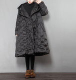 A-Line Long Loose Plus size Side Pocket Down Jacket Women Down Coats