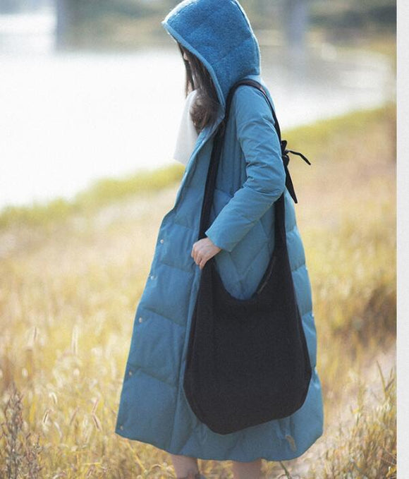 Casual Winter Women Coat long Hooded Large Pocket Down Jacket