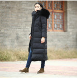 Casual Long Women Down Jacket Winter Down Jacket With Fur Trim