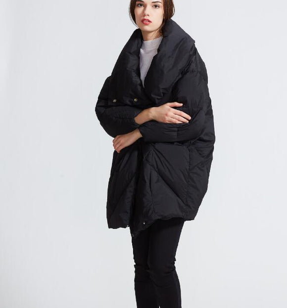 High Collar Winter Loose Duck Down Jackets Hooded Warm Women Long Down Coat