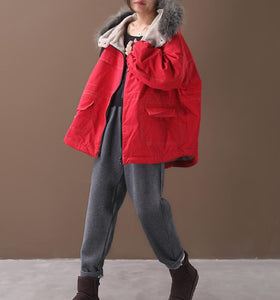 Short Women Casual Hooded Parka Faux Fur Collar Plus Size Coat Jacket
