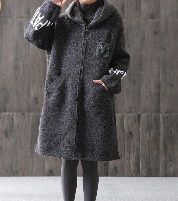 Fleece Gray Women Coat Handmade loose Hooded Women Wool Coat Jacket