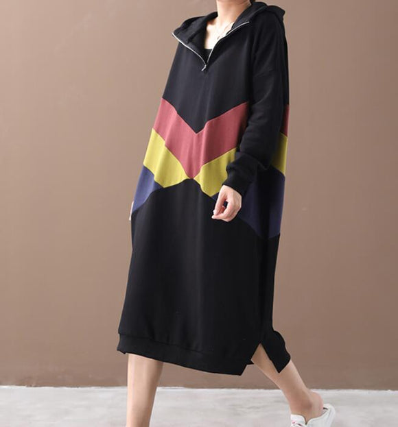 Hooded Patchwork Colors Women Cotton Loose Dresses Long Sleeve Women Dress YM9201229