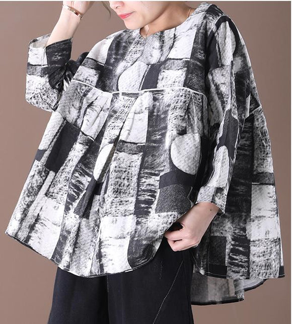 Print Women Casual Linen Shirts Loose Blouse Women Tops WG961707