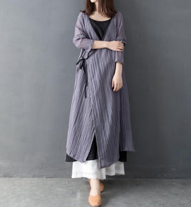 Wrinkle Women Linen Cotton Dresses Long Sleeve Women Dress Belt  YM9201229
