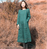Waist Belt Linen Long Sleeve Autumn Women Shirt Linen Dresses S90921