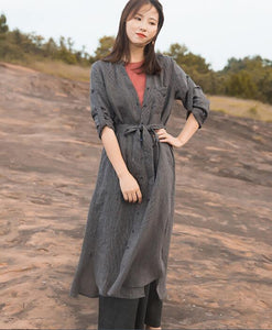 Gray Trenchcoat Linen Long Sleeve Autumn Women Shirt Linen Dresses With Buttons S90922