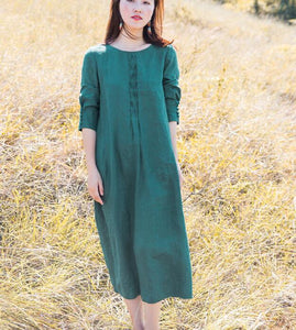 Green Linen Long Sleeve Autumn Women Shift Linen Dresses S90922