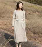 Khaki Linen Long Sleeve Autumn Women Shift Linen Dresses S90921