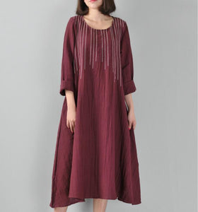 Stithing Linen Women Dresses O Neck Long Sleeve Women Linen Dresses YJ90921