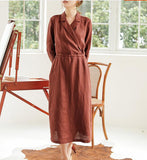 Coffee Linen Women Dresses Long Sleeve Women Linen Dresses Waist Belt S90921
