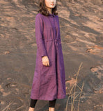 Copy of linen Loose Long Sleeve Women Linen Dresses  ZF98413