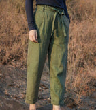Green Linen Summer Autumn Women Casual Pants SMM97235