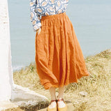 women-linen-skirts-yellow-summer-skirts (1)