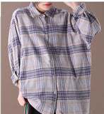 Checked Women Casual Blouse Linen Shirts Loose Blouse Plus Size Women Tops WG961707