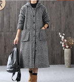 Gray Women Coat Handmade Bat Sleeve loose Hooded Women Wool Coat Jacket