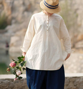 White Casual Linen Cotton Spring Summer Shirts Women Tops SXM97299
