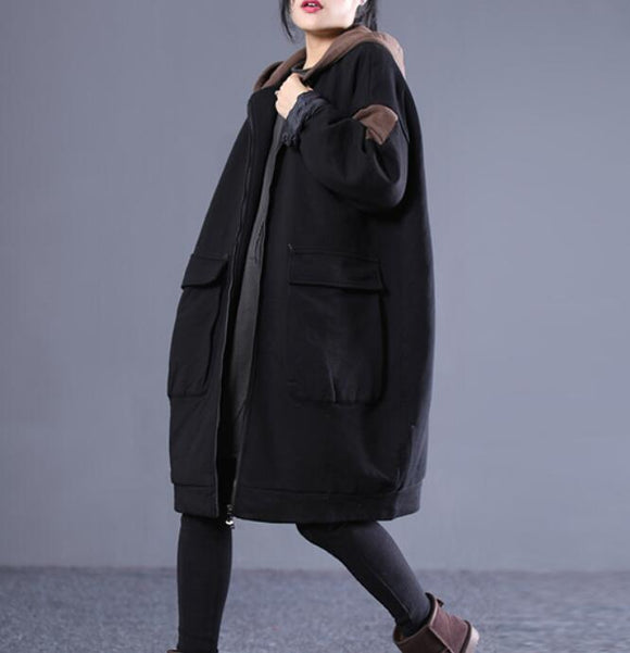 Spring Women Casual Coat Loose Hooded Parka Plus Size Coat Jacket
