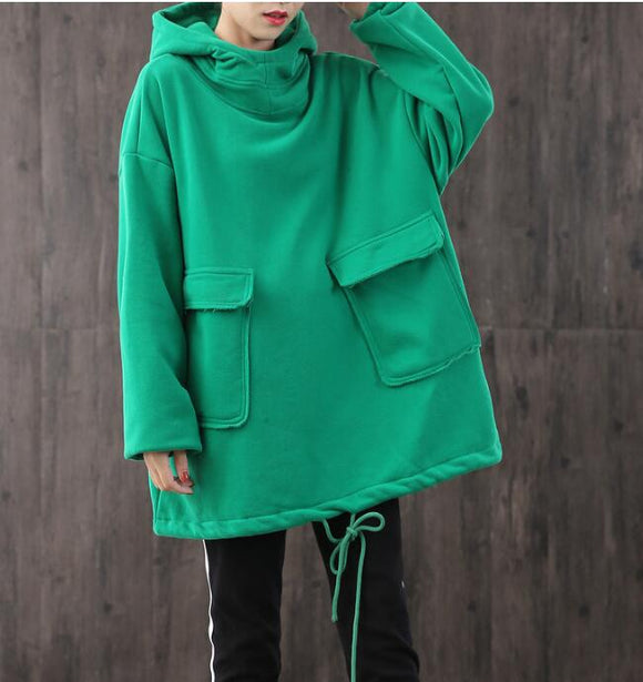 Hooded Loose Blouse Spring Tunic Casual Women Shirts Cotton Tops WG961707