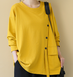 Round Neck Long Sleeves Sweater Loose Casual Cotton Spring Women Tops SXM97299