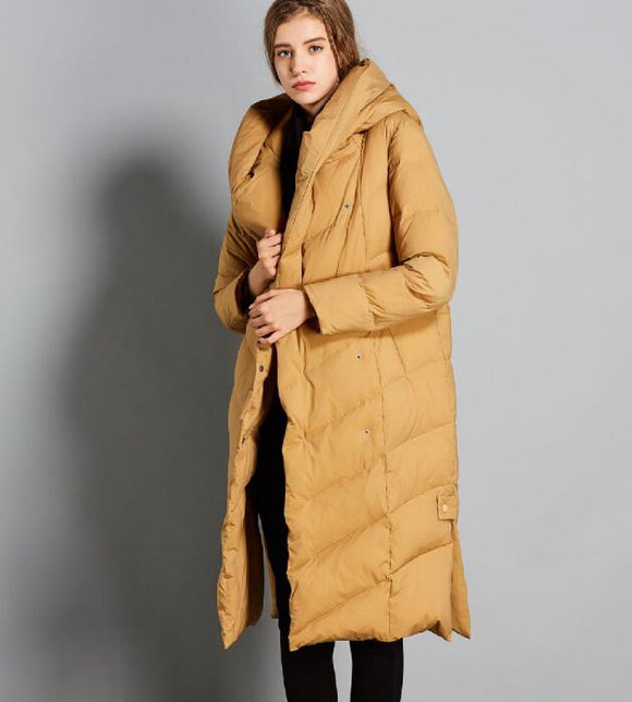 Yellow Women Winter Thick 90% Duck Down Jackets Warm Down Coat Any Size