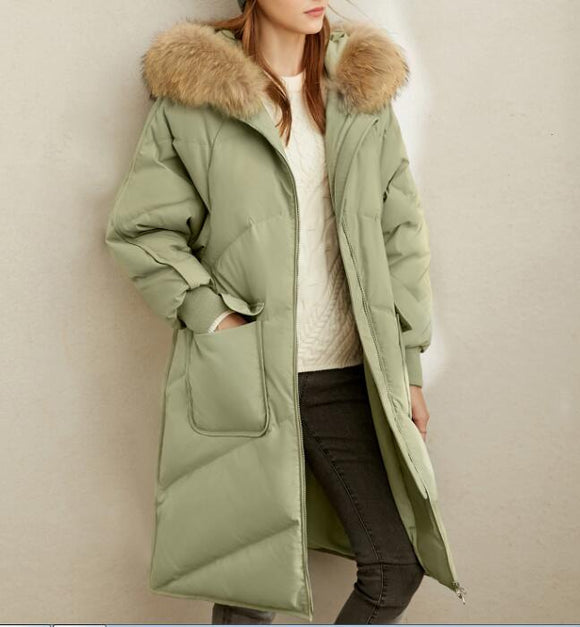 Fur Trim Women Winter Loose Plus size Side Pockets Down Jacket Women Down Coats Any Size