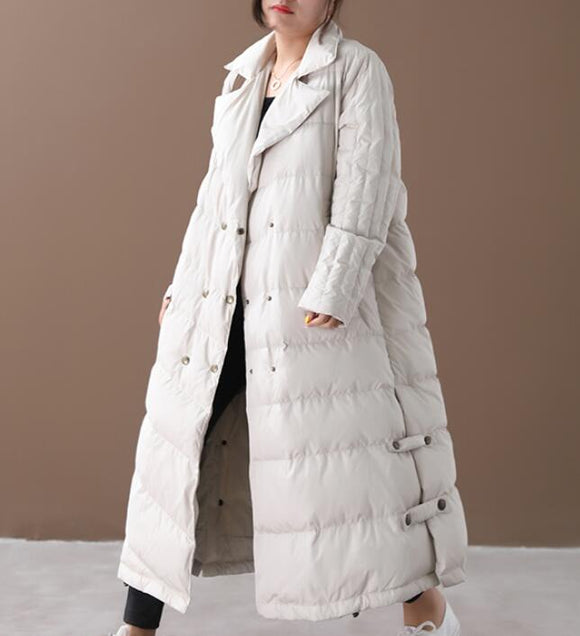 A-line Loose Plus size Side Pockets Down Jacket Women Down Coats