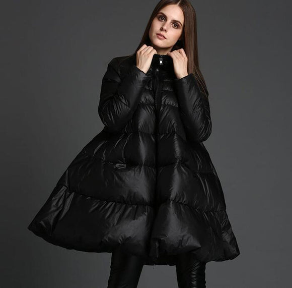 A-Line Women Winter Loose 90% Duck Down Jackets Warm Down Coat Any Size