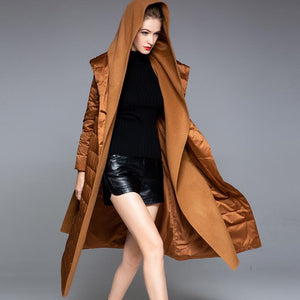 Patchwork Women Down Coat Winter Loose 90% Hooded Duck Down Jackets Long Warm Down Coat Any Size