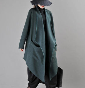 Women Cloak Coat Handmade Long loose Women Wool Coat Jacket