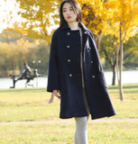Double Breast Loose A-line Women Coat Winter Wool Coat Plus Size Coat