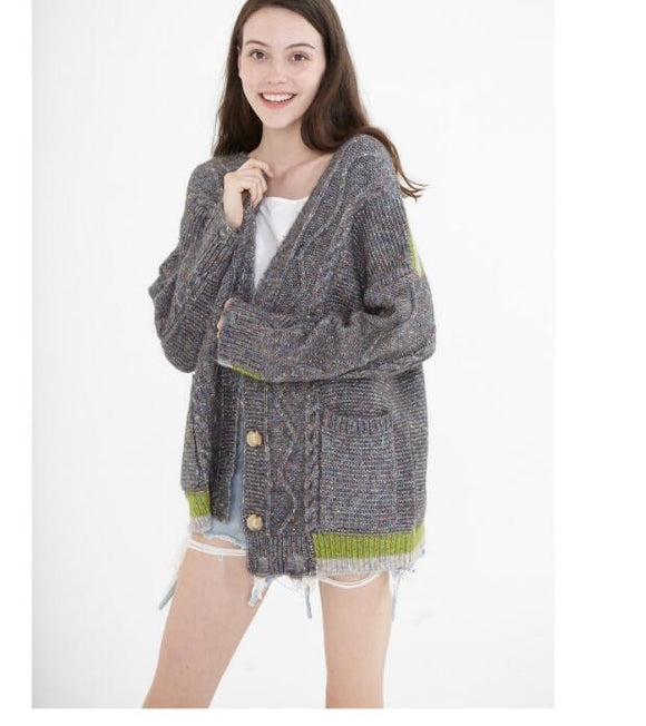 loose cardigan Short Style Women Tops Woolen Knit Sweater