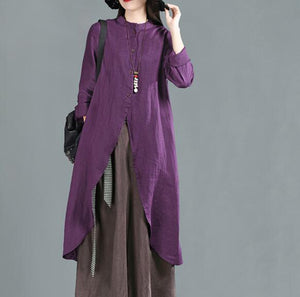 women-purple-linen-long-shirts-3/4-sleeves