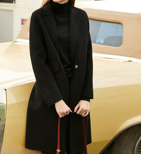 Black Women Winter Black Long Women Wool Coat Jacket