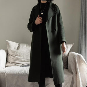 Winter Black Cashere Coats Long Women Wool Coat Jacket