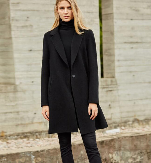 Slit Women Winter Black Vintage Women Wool Coat Jacket