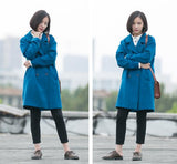 Blue Women Coat Wool Coat