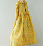Yellow Floral  Linen loose Summer Women Dress SJ9201229