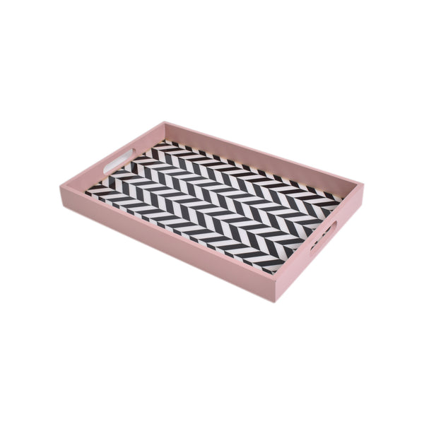 Coral Chevron Tray (Large)