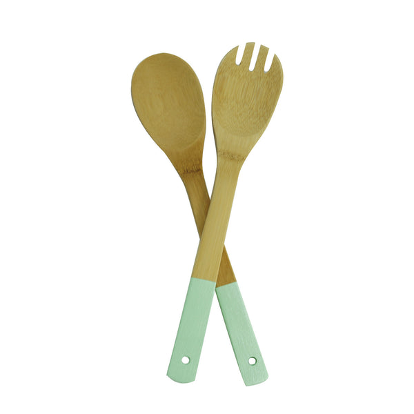 Bamboo Salad Servers in Mint