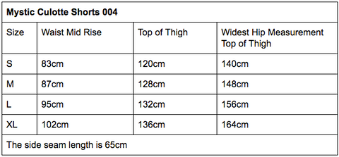 Mystic Culotte Shorts Sizing Guide