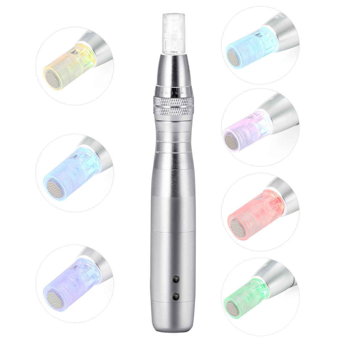 LED Micro-Needling Pen Electric DermaPen With Free Needle Cartridges 10pcs