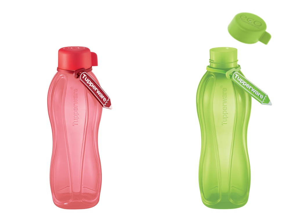 Tupperware Eco Bottle Screw Cap (2) 1L Red Green