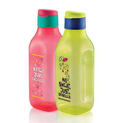 Stay Positive Eco Bottle (2) 1.0L - Yellow / Red