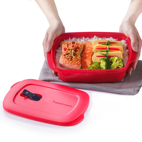 11153338 CrystalWave Rectangular Lunch Box 1L - Cherry | Tupperware Singapore