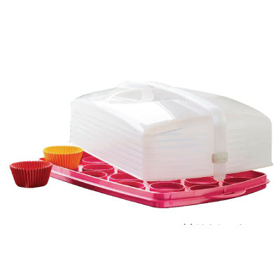 Tupperware B2B Rectangular Cake Taker (1) Pink Punch